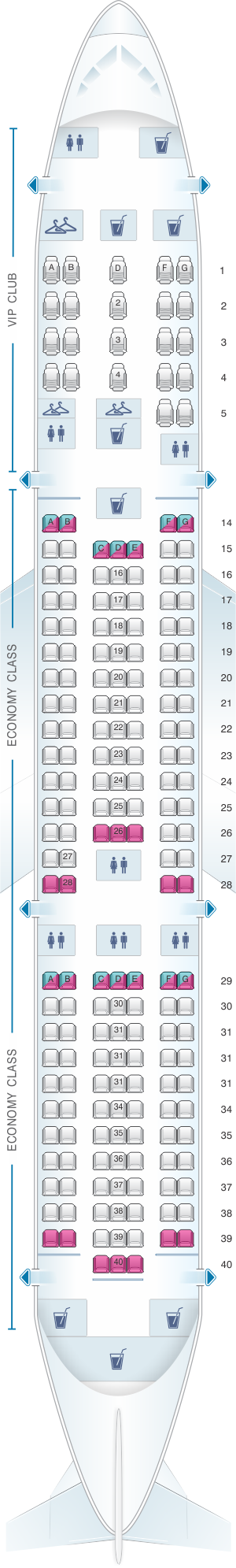 Seat map for Azal Azerbaijan Airlines Boeing B767 300ER