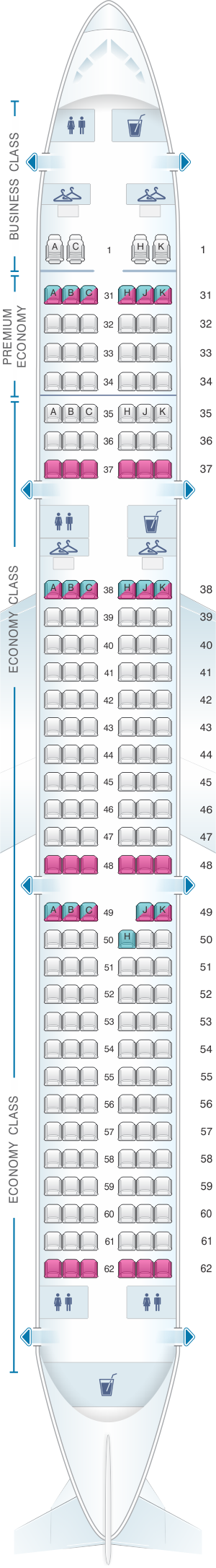 Seat map for China Southern Airlines Airbus A32N