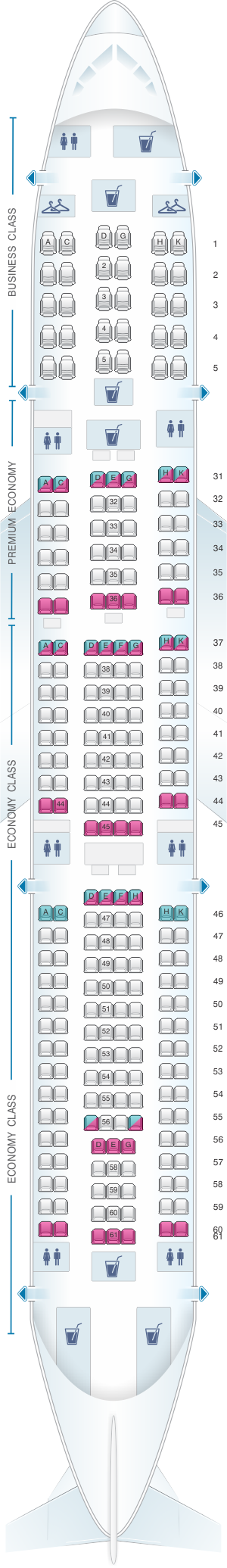 Seat map for China Southern Airlines Airbus A33B