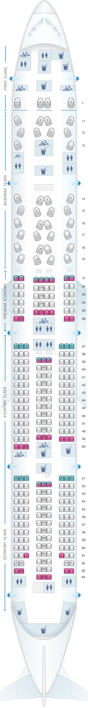 Seat map for China Southern Airlines Boeing B77W