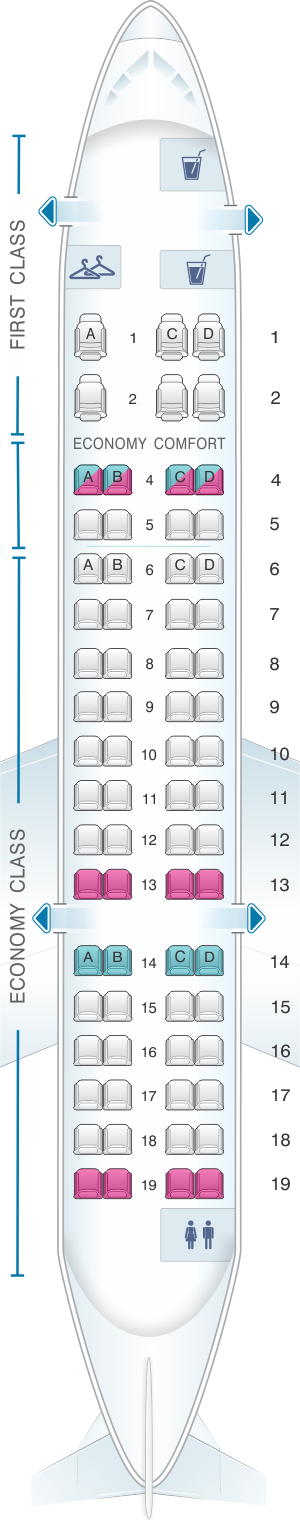 Seat map for Delta Air Lines Bombardier CRJ 700(RJ6)