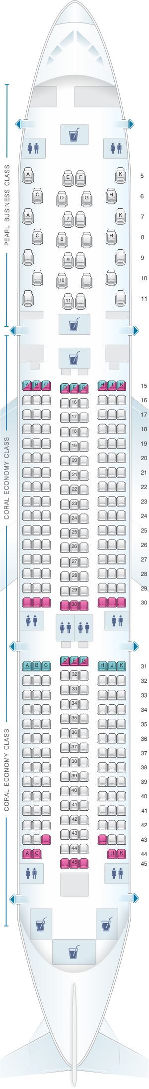 Seat map for Etihad Airways Boeing B787 9 two class