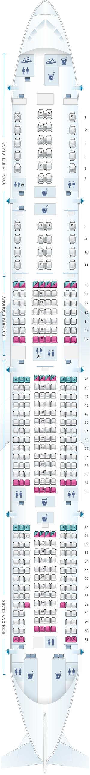Seat map for EVA Air Boeing B777 300ER 353PAX