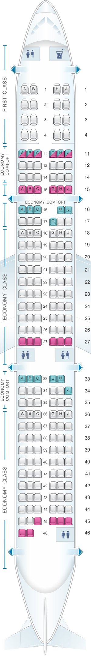 Seat map for Hawaiian Airlines Airbus A321neo