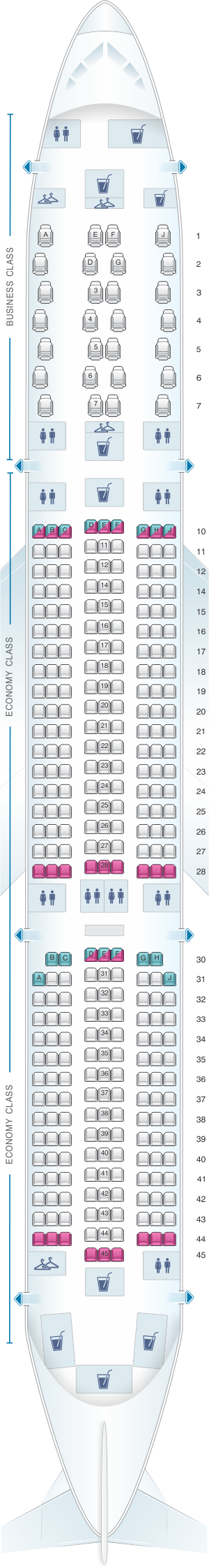 Seat map for Air Mauritius Airbus A350 900