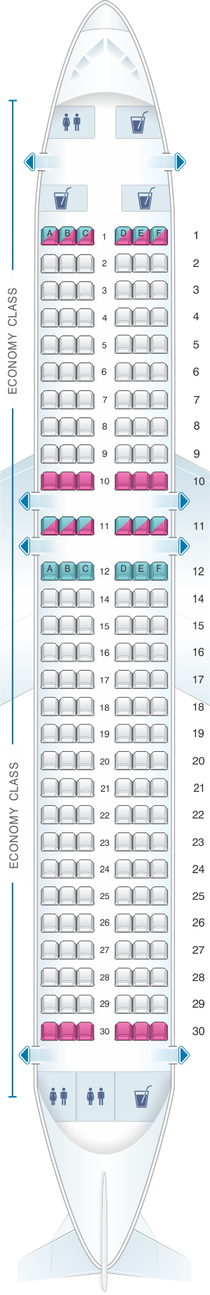 Seat map for Scandinavian Airlines (SAS) Airbus A320neo