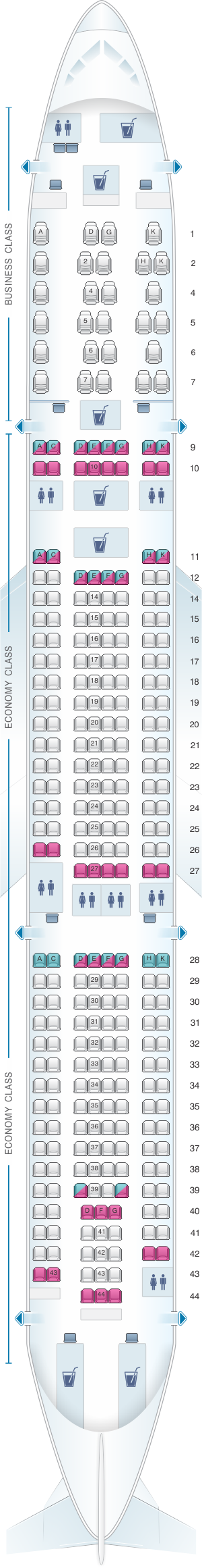 Seat map for Malaysia Airlines Airbus A330 300 Config.2
