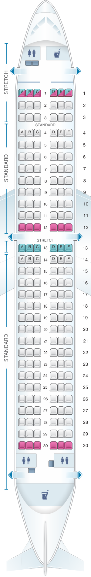 Seat map for Frontier Airlines Airbus A320neo