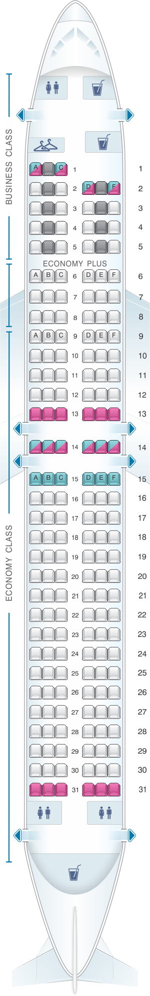 Seat map for LOT Polish Airlines Boeing B737 800