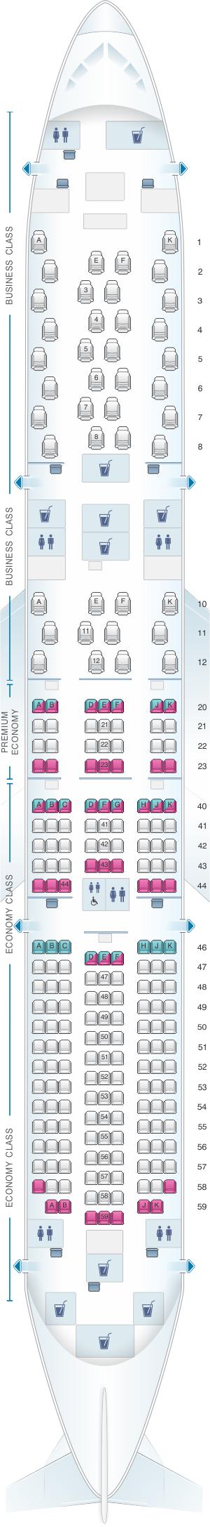 Seat map for Qantas Airways Boeing B787 9 Dreamliner
