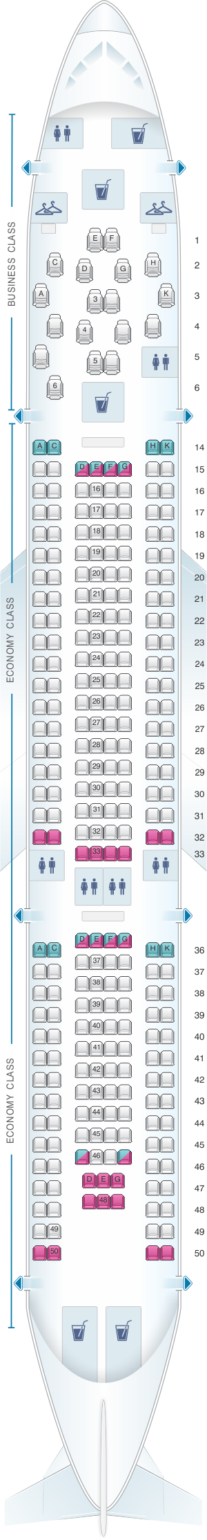 Seat map for Virgin Atlantic Airbus A330 200