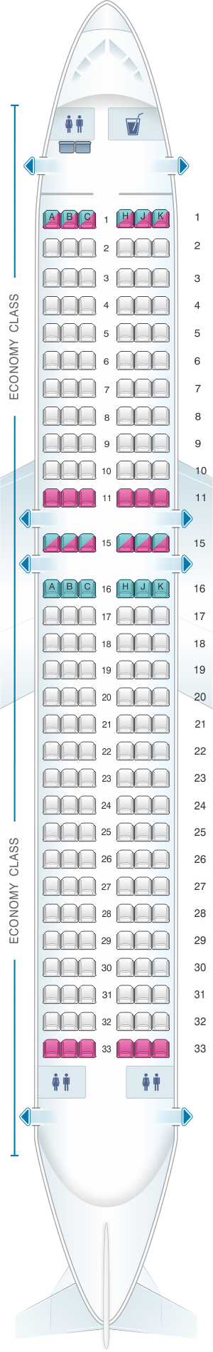 Seat map for Air Transat Airbus A320 200 US and South