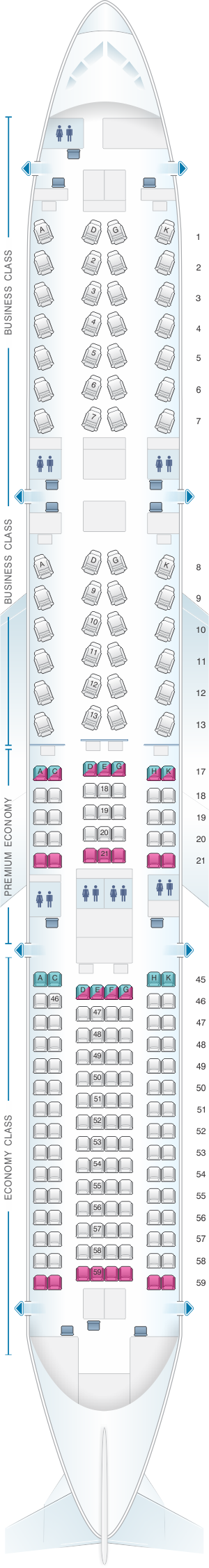 Seat map for Japan Airlines (JAL) Boeing B787-9 E91