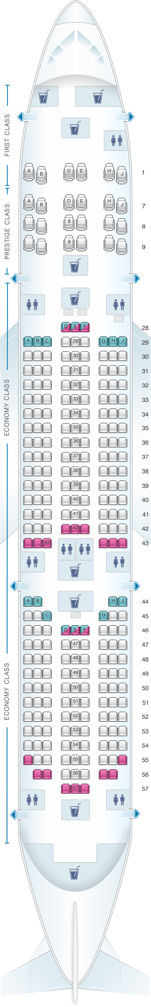 Seat map for Korean Air Boeing B787 9