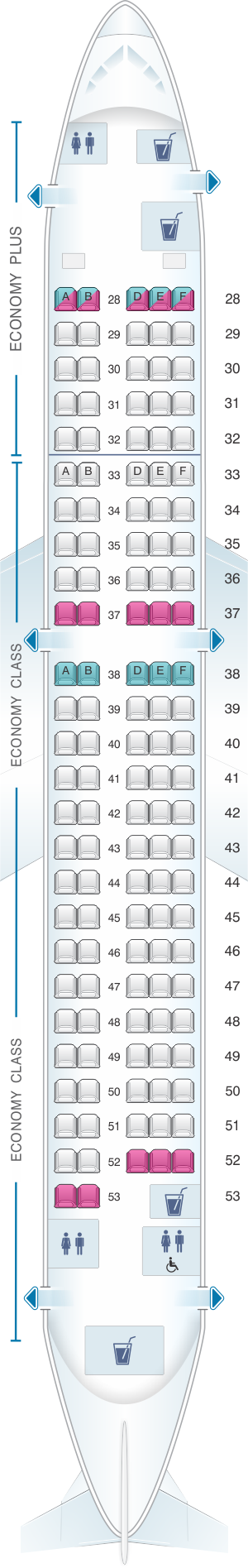 Seat map for Korean Air Airbus A220 300 v1