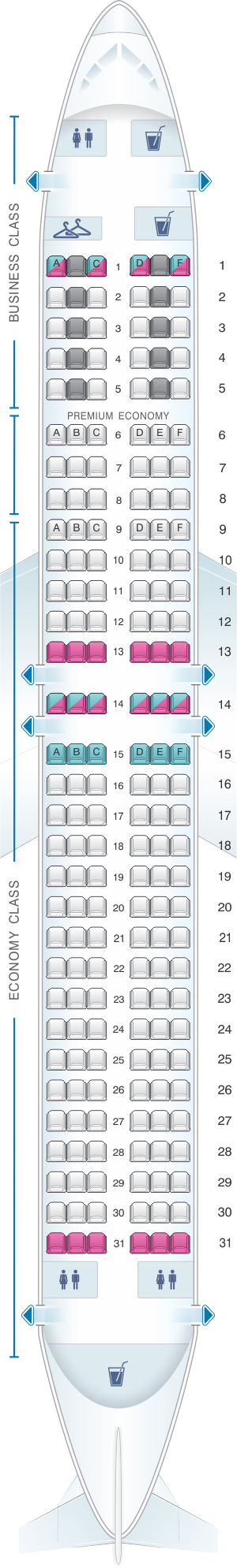 Seat map for LOT Polish Airlines Boeing B737 MAX 8
