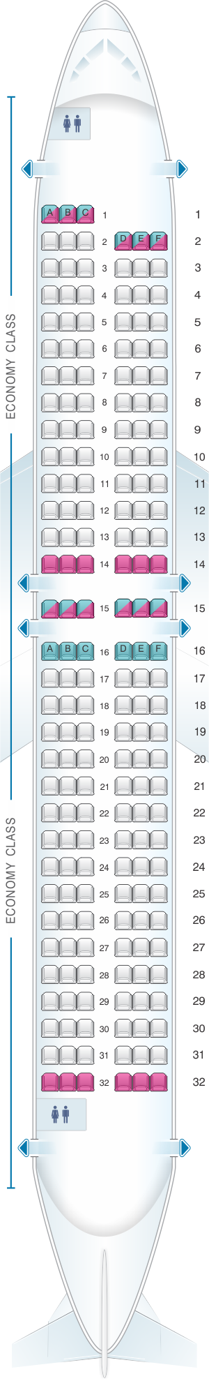 Seat map for Norwegian Boeing B737 MAX 8