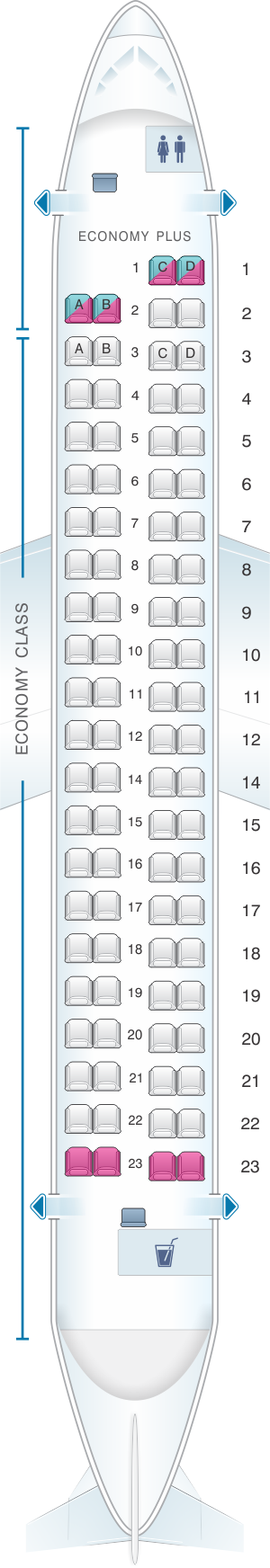 Seat map for Philippine Airlines Bombardier Q400