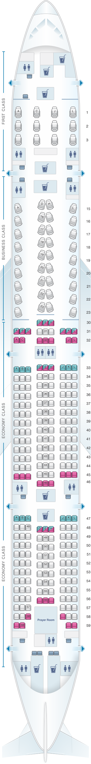 Seat map for Saudi Arabian Airlines Boeing B777 300ER (Z)