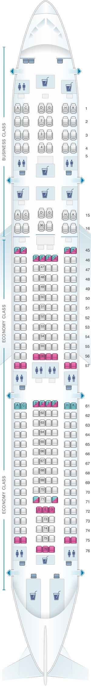 Seat map for South African Airways Airbus A340 300 V2