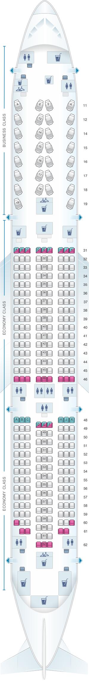 Seat map for Thai Airways International Boeing B787 9