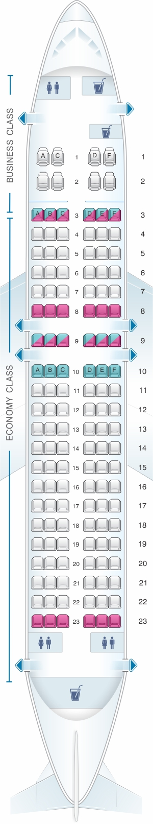 Seat map for SpiceJet Boeing B737 700