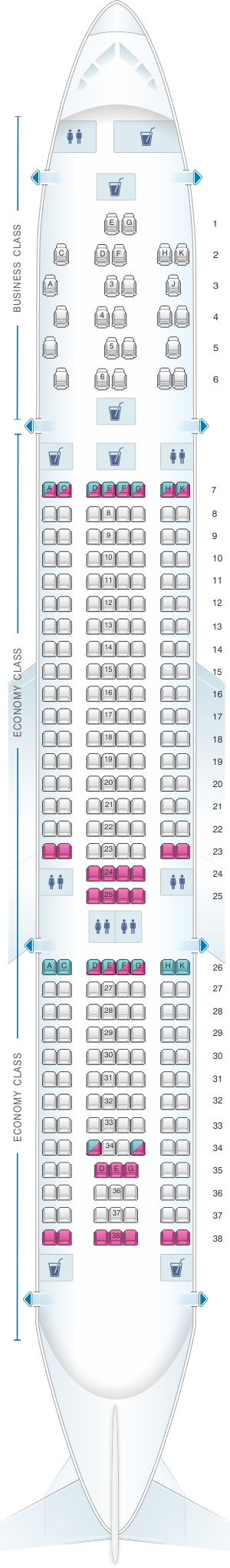 Seat map for TAP Air Portugal Airbus A330 200 V2