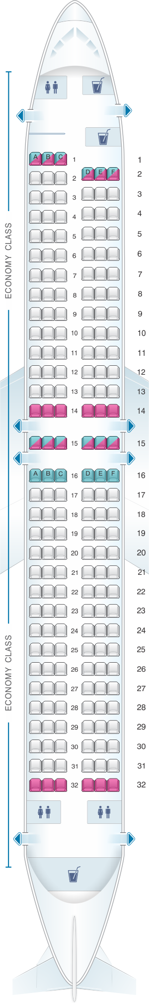 Seat map for TAROM Boeing B737 800