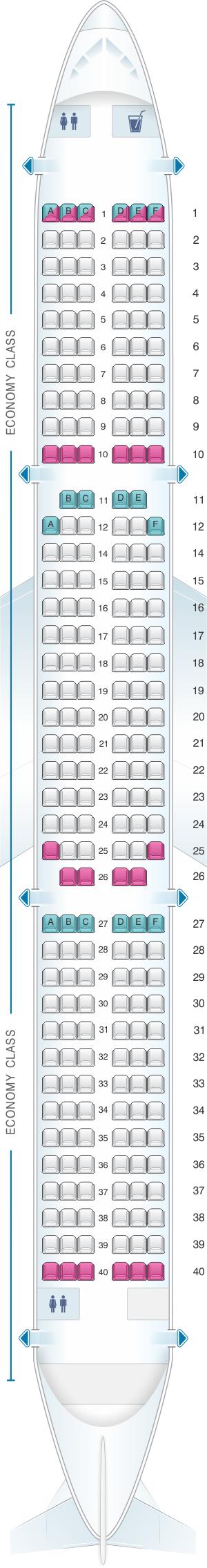 Seat map for Cebu Pacific Air Airbus A321