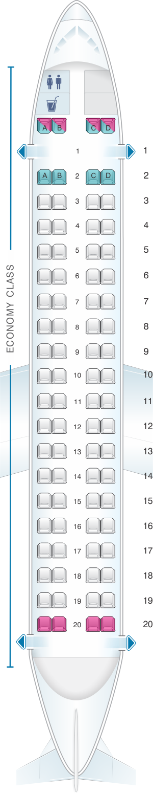 Seat map for LOT Polish Airlines Bombardier Q400