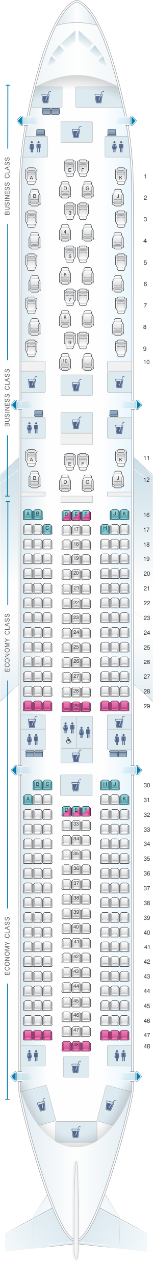 Seat map for Qatar Airways Airbus A350 1000