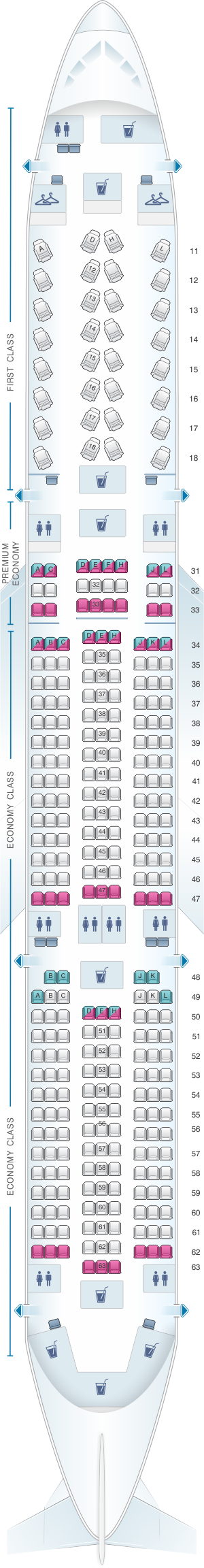 Seat map for Air China Airbus A350 900
