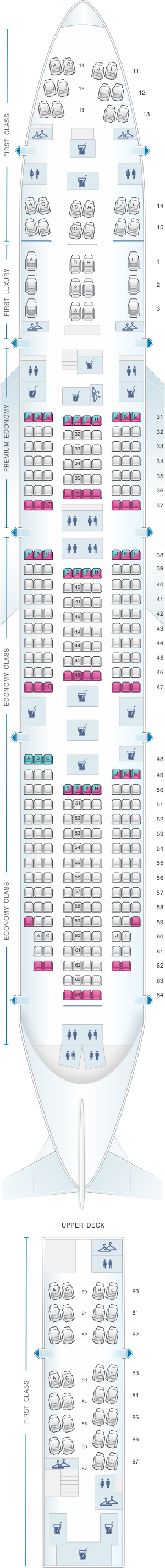 Seat map for Air China Boeing B747 8