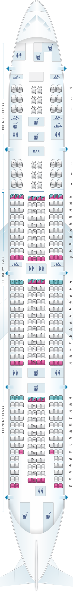 Seat map for Air China Boeing B777 300ER (392PAX)