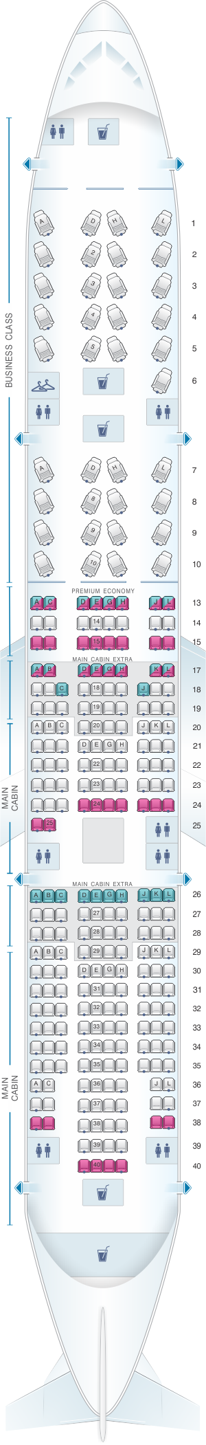 Seat map for American Airlines Boeing B777 200ER 273pax
