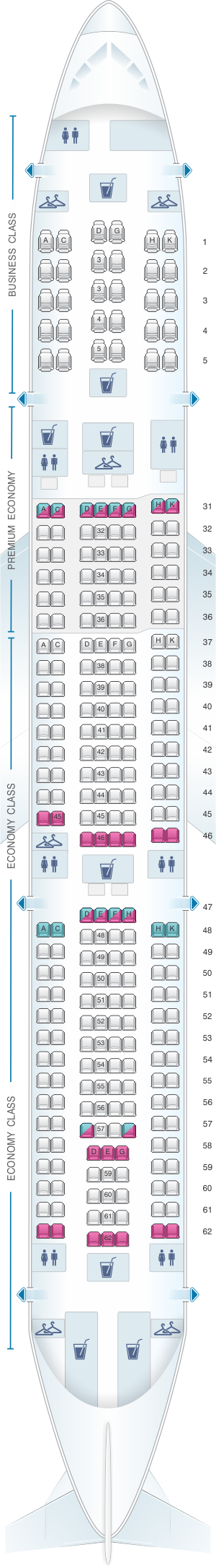 Seat map for China Southern Airlines Airbus A330-300 Layout B