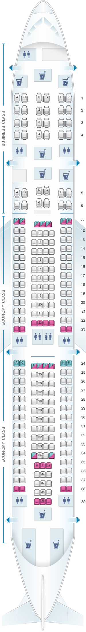 Seat map for Hi Fly Airbus A340 300 SOL 254pax