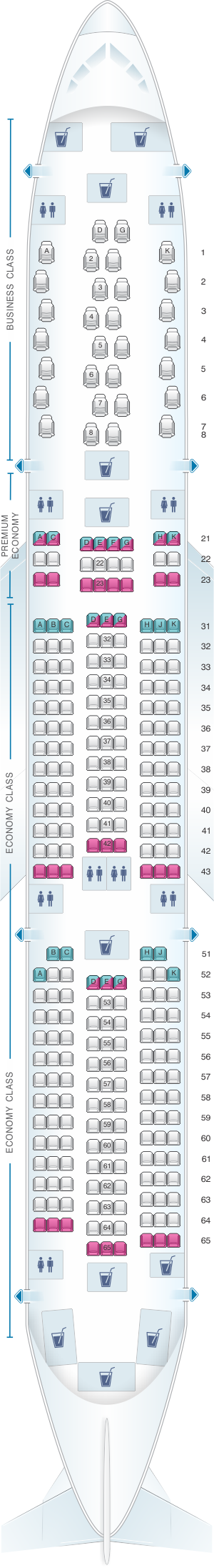 Seat map for Philippine Airlines Airbus A350 900