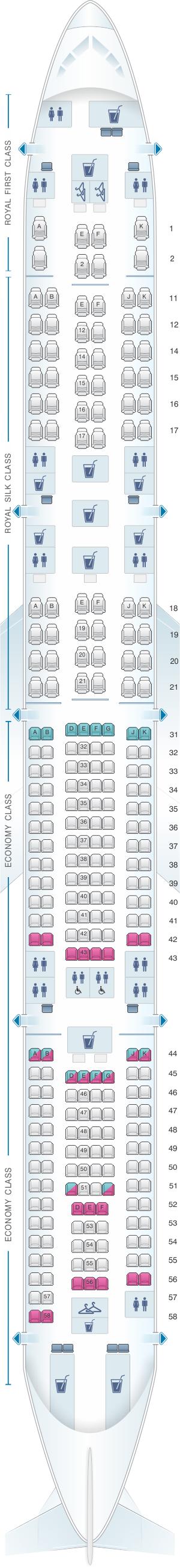 Seat map for Thai Airways International Airbus A340 600
