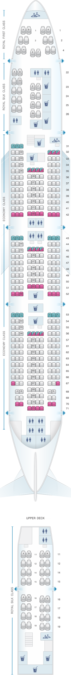 Seat map for Thai Airways International Boeing B747 400 (744)