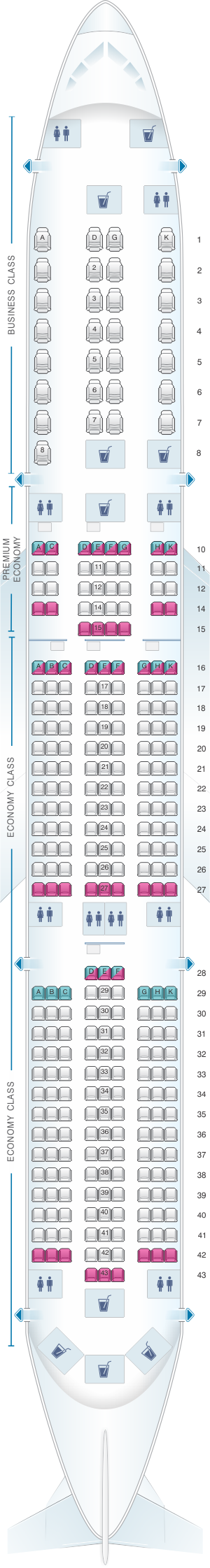 Seat map for Vietnam Airlines Airbus A350 Config.2