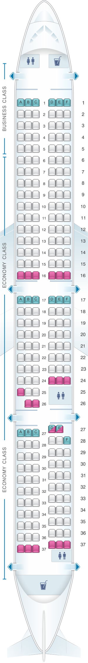 Seat map for Air New Zealand Airbus A321 Neo