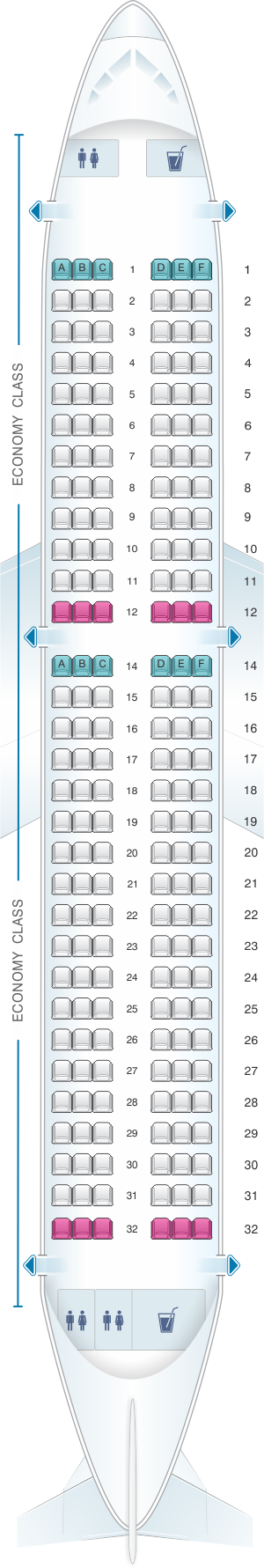 Seat map for Iberia Airbus A320 Neo