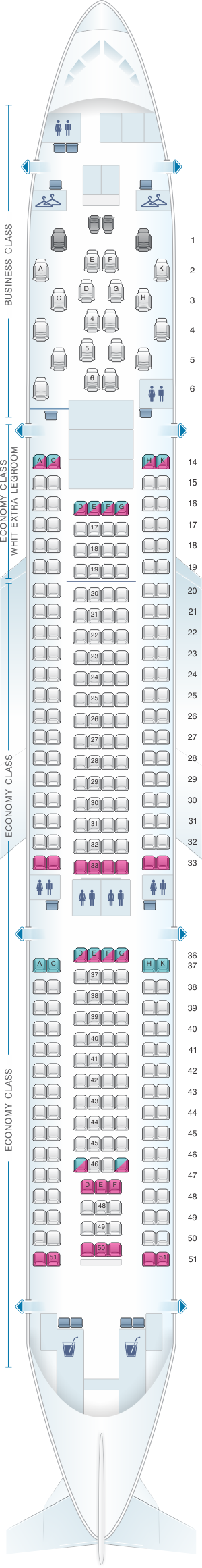 Seat map for Malaysia Airlines Airbus A330 200