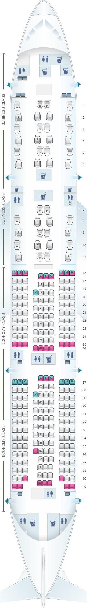 Seat map for Qatar Airways Boeing B777 200LR Qsuite
