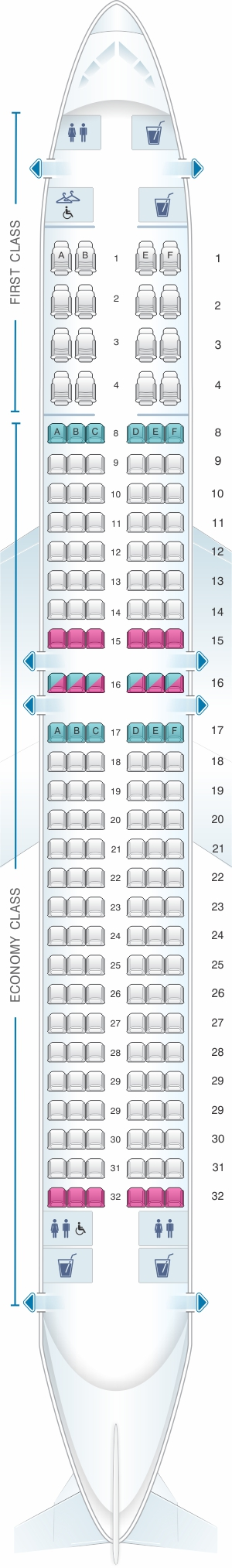Seat map for American Airlines Boeing B737 800 config.2