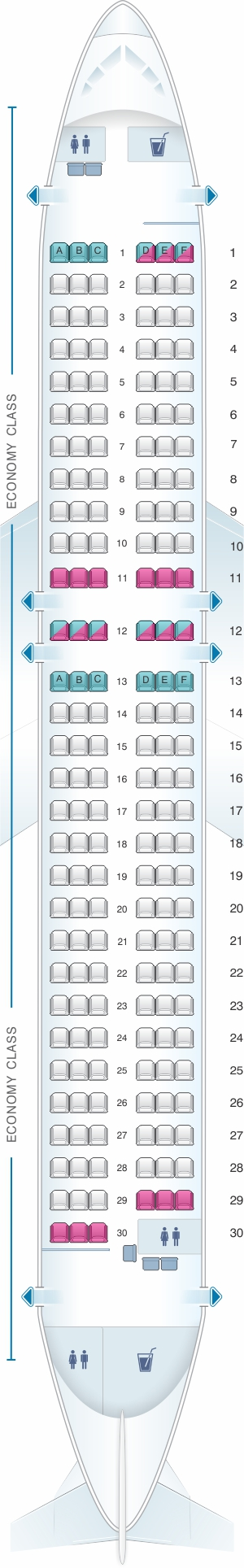 Seat map for QantasLink Airbus A320 200