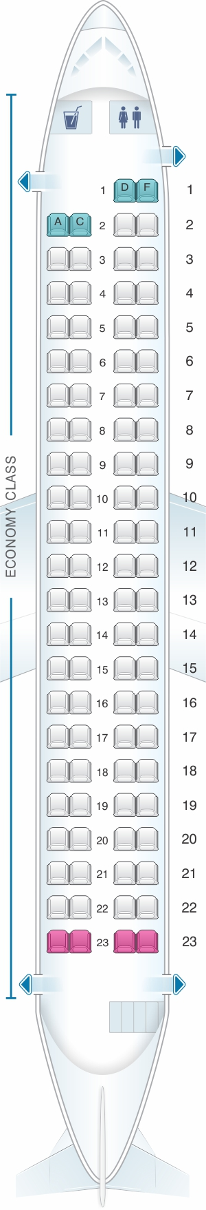 Seat map for SpiceJet Bombardier Q400 config.2
