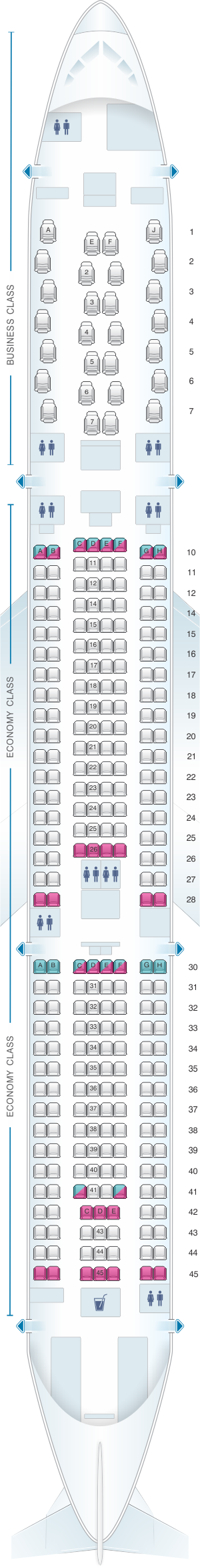 Seat map for Air Mauritius Airbus A330 900Neo