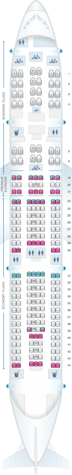 Seat map for Air France Airbus A330 200 224PAX